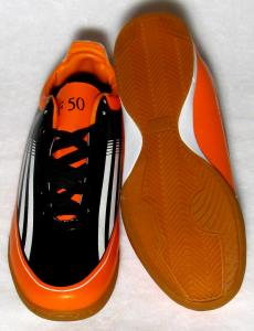 Фото БАМПЫ Бампы Adidas Adizero F50 (кожа) черно-оранжевые