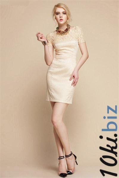 Коктейльное платье золотистого цвета с кружевной вставкой по лифу, с коротким рукавчиком. На молнии.
