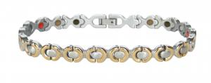 Фото Магнитные браслеты, Стальные, С биокерамическими вставками Магнитный стальной браслет Валентина с биокерамическими вставками