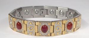 Фото Магнитные браслеты, Стальные, С полудрагоценными камнями Магнитный стальной браслет Бухара с агатом