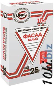 """Шпатлевка цементная """" Unis Фасад белый"""" 25кг"""