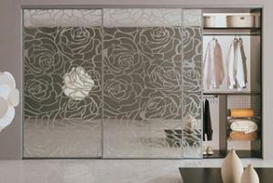 Фото Наполнение двери (фотопечать, химтравление, покраска) пескоструйный рисунок на зеркале