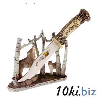 """Нож сувенирный на подставке """"Волк среди деревьев""""   870901"""