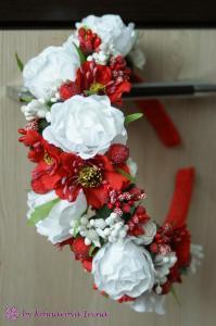 Фото Ободки с цветами Крупный ободок с маками в украинском стиле