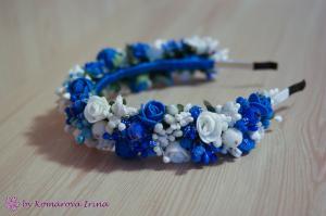 Фото Ободки с цветами Сине-белый ободок