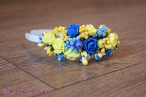 Фото Ободки с цветами Асимметричный жёлто-синий обруч