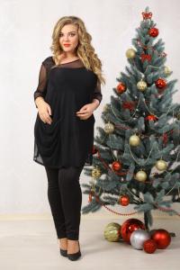Фото Туники, рубашки 48-72 размера Туника Карамель сетка (с майкой)
