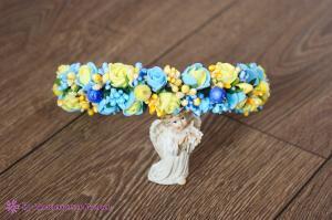 Фото Ободки с цветами Жёлто-голубой ободок на голову с розочками