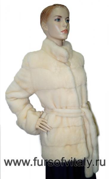 Фото Шубы, Шубы из норки Полушубок из норки с поясом, модель