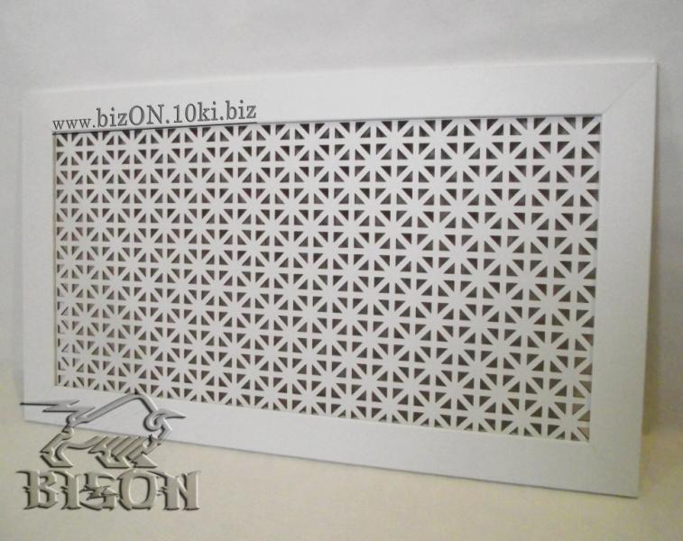 Фото Решетки ПВХ и Экраны МДФ для радиаторов отопления и декора Декоративный экран на батареи «ОНТАРИО» из перфорированного МДФ, цвет – цвет – Арктик (белый)