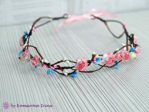 Фото Веночки с цветами Розово-голубой веночек из розочек