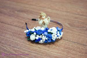 Фото Ободки с цветами Асимметричный сине-белый ободочек с розочками