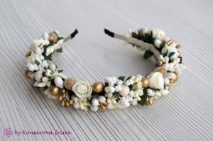 Фото Ободки с цветами Кремово-золотой ободок с розочками