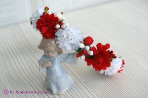 Фото Ободки с цветами Красно-белый ободок из хризантемок