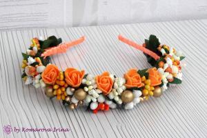 Фото Ободки с цветами Ободок в оранжевом цвете