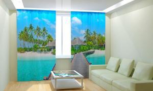 Фото 3D фотошторы, Для комнаты, Природа Остров для отдыха
