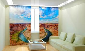 Фото 3D фотошторы, Для комнаты, Природа Река в каньоне