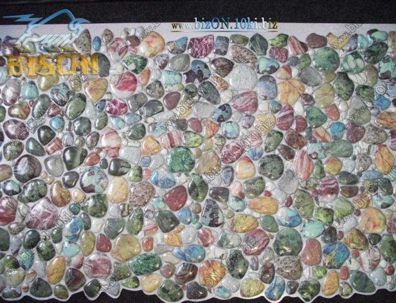 Фото Листовые панели ПВХ Камень «ГАЛЬКА ЗЕЛЕНАЯ»  Листовые панели ПВХ для внутренней декоративной отделки
