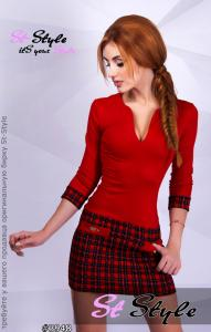 Фото Платья, Коктейльные платья Женское платье осеннее со стеганой юбкой