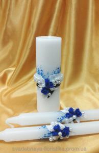 Фото Свадебные свечи Свадебный набор свечей с синими розами.