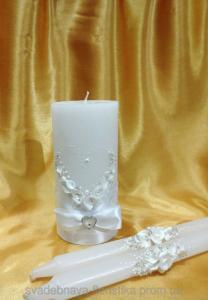 Фото Свадебные свечи  Комплект свечей  в белом цвете.