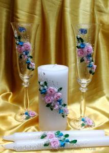 Фото Свадебные аксессуары в едином стиле Бокалы и свечи