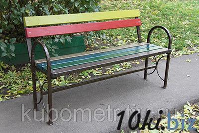 Садовая скамейка со спинкой цветная
