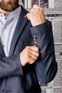 Фото Пиджаки Пиджак мужской молодежный синего цвета, мелкий принт