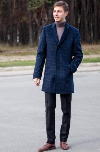 Фото Верхняя одежда Пальто мужское Dante ярко-синяя клетка