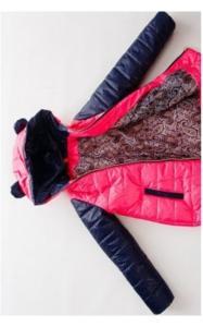 Фото Верхняя одежда (весна-осень) 280192 Куртка МАКСИ демисезонная д/дев.(малина+синий)
