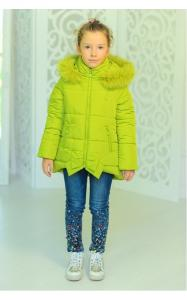 Фото Верхняя одежда (зима) 12153 Куртка ДЖИНА зима д/дев(лайм)