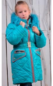 Фото Верхняя одежда (зима) 0837 Зимнее пальто ТАНЯ (бирюза)