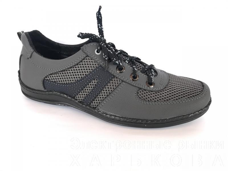 Туфли спортивный на шнурках мужские серый Perfect - сетка