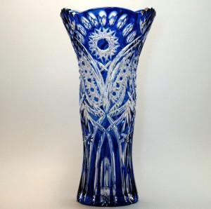 Фото Хрустальная посуда, Вазы из цветного хрусталя Ваза для цветов из цветного хрусталя синяя