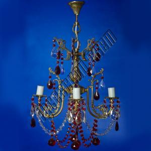Фото Бронзовые люстры Бронзовая люстра 4 лампы цветная