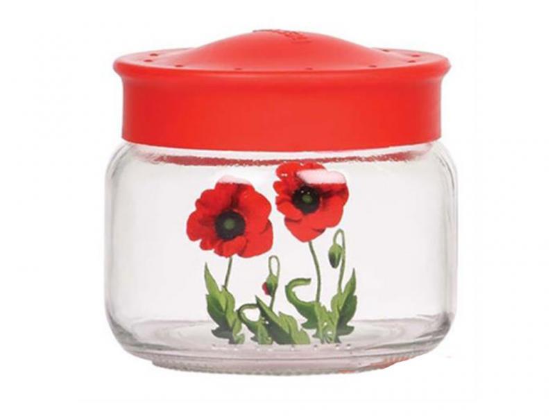 Фото Ёмкости для сыпучих, Ёмкости для сыпучих из стекла Банка стеклянная Маки 420 мл
