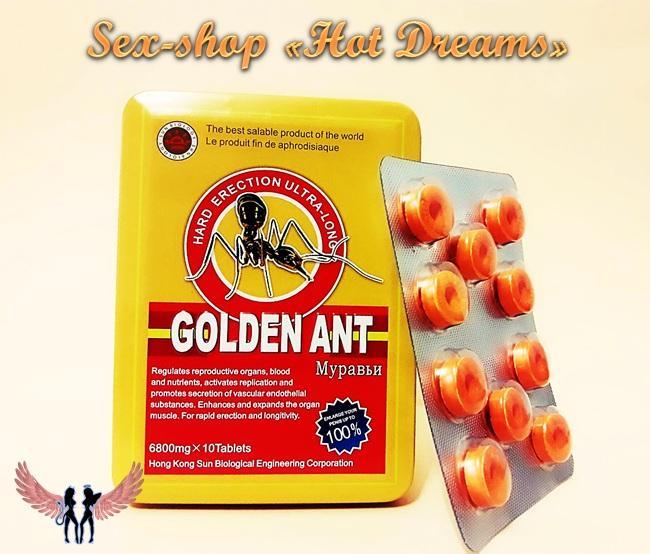 Фото Препараты для повышения потенции (капсулы, капли, таблетки, порошки) Эффективный препарат Gold Ant продлевает время полового акта