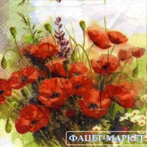 Фото Салфетки для декупажа, Цветы Салфетка Букет маков СД-023