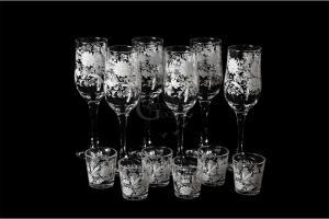 Фото Наборы из 12-13 изделий, Декорированные, Шелкография Набор из 12 предметов: бокал и стопка. Белые цветы