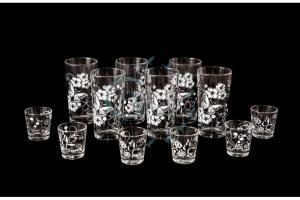 Фото Наборы из 12-13 изделий, Декорированные, Шелкография Набор из 12 предметов: стакан, стопка. Белые бабочки