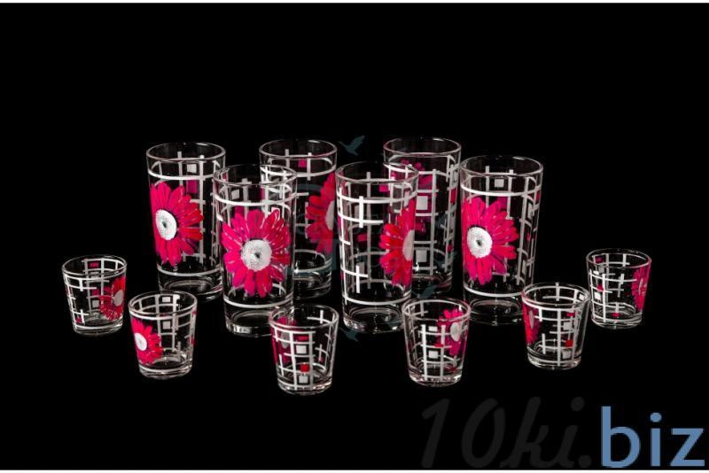 Набор из 12 предметов: стакан, стопка. Розовые герберы