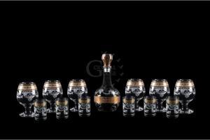 Фото Наборы из 12-13 изделий, Декорированные Набор из 13 предметов: графин, бокал, стопка. Барокко