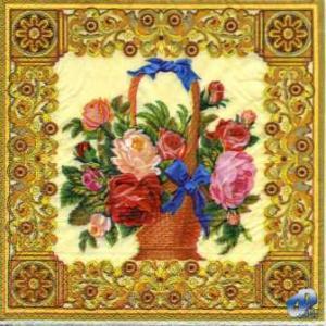 Фото Салфетки для декупажа, Цветы Салфетка Корзина с цветами СД-085