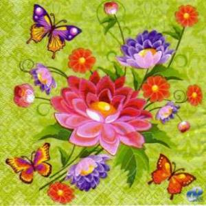 Фото Салфетки для декупажа, Цветы Салфетка Букет и бабочки СД-095