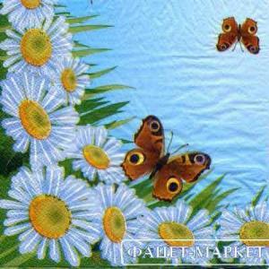 Фото Салфетки для декупажа, Цветы Салфетка Ромашки и бабочки СД-131
