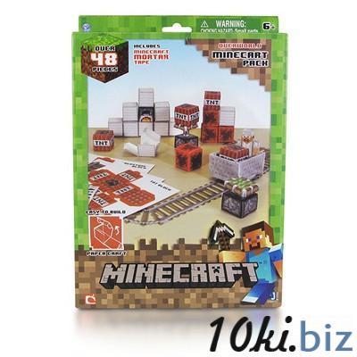 """Бумажный конструктор """"Minecraft Papercraft"""" Игровой мир """"Вагонетка и ТНТ"""" 48 деталей"""