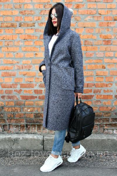 Демисезонное пальто с капюшоном женское