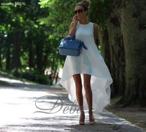 Фото Платья Платье белое из шифона с хвостом №076