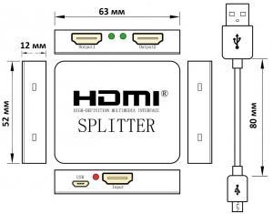 Фото Спліттери Ультратонкий спліттер 1X2 HDMI v1.4 1080p з живленням від USB