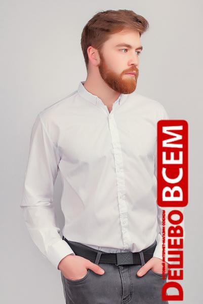Белая рубашка без воротника мужская